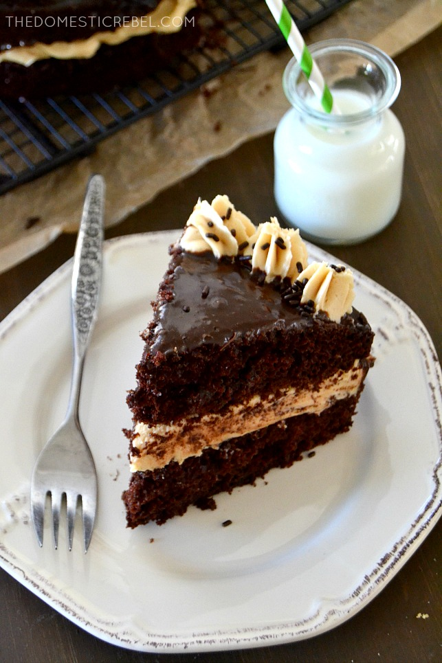 This Bailey's Irish Cream Chocolate Cake is sinfully rich and fudgy with creamy Bailey's buttercream and decadently easy chocolate ganache. A can't miss, must-make, EASY recipe!