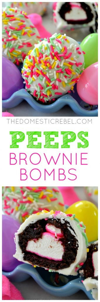 These Peeps Brownie Bombs are a delectable treat for any marshmallow lover! Fudgy baked brownie surrounds a sugary, soft Peep candy that's coated in rich white chocolate. Perfect for Easter and so easy to make!