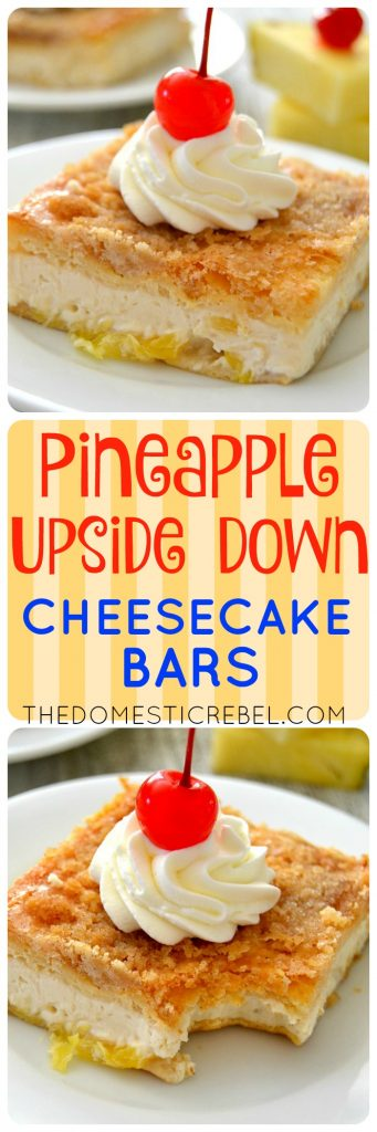 Pineapple Upside Down Cheesecake Bars collage