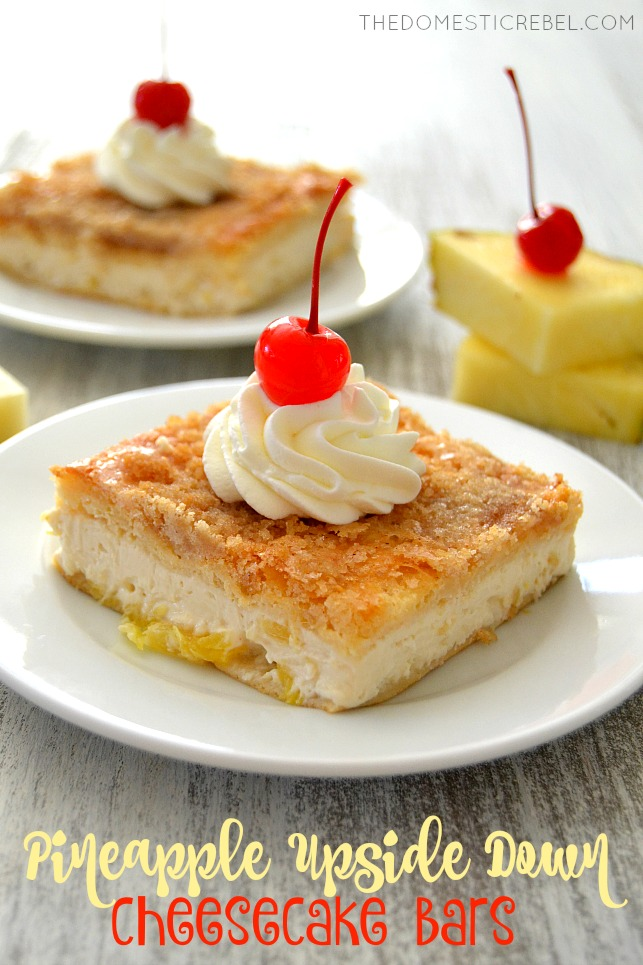 Pineapple Upside Down Cheesecake Bars arranged on white plates with pineapple wedges