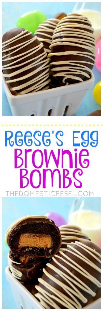 These Reese's Egg Brownie Bombs are perfect for Easter! Filled with those delightful Reese's Peanut Butter Eggs, they're wrapped in a fudgy brownie and coated in rich milk chocolate. So easy and delicious!