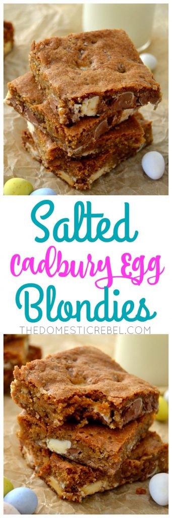 Salted Cadbury Egg Blondies collage