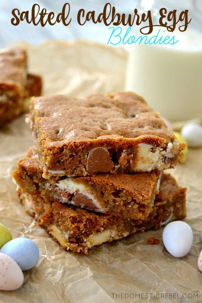 These Salted Cadbury Egg Blondies are a rich, sweet and salty dessert that's sure to please! This easy recipe comes together in minutes and has delightful pockets of rich Cadbury chocolate swirled throughout. Perfect for Easter!
