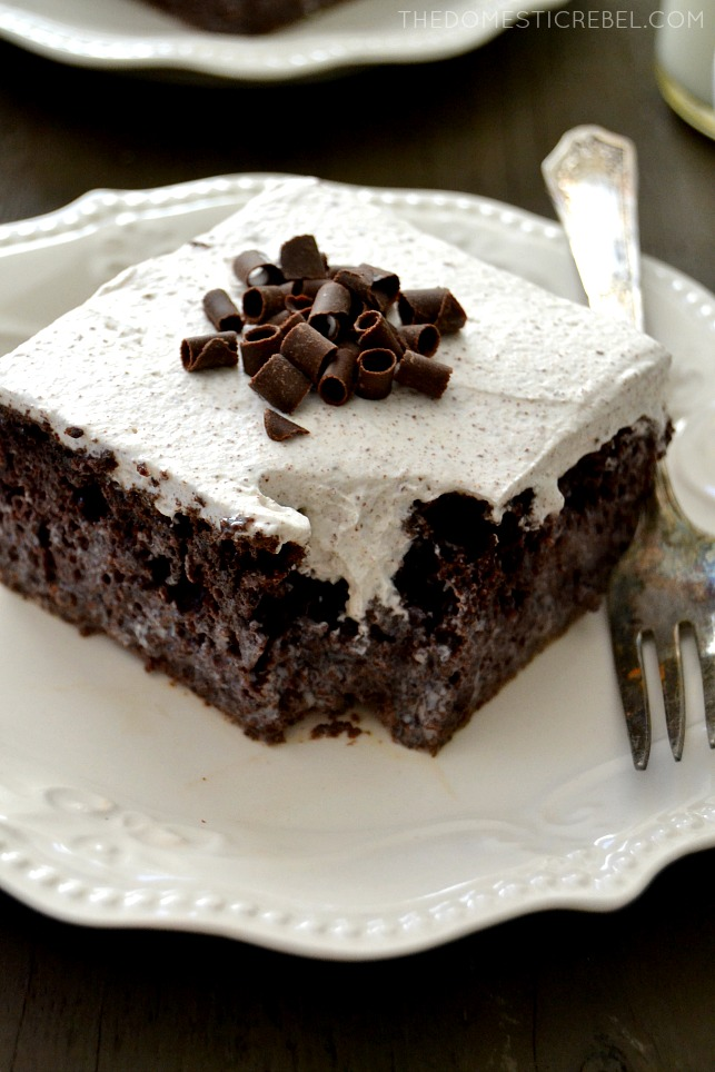 This Chocolate Tres Leches Cake is such a fun, elegant spin on the classic cake! A rich, moist dark chocolate cake topped with chocolate shaved whipped cream for a decadent, EASY recipe that's sure to please!