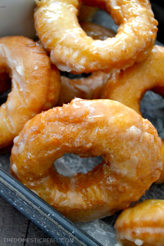 Old-Fashioned Buttermilk Doughnuts arranged in metal baking dish