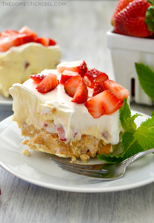 This Strawberry Cheesecake Lush Dessert is so simple to make... and eat! Layers of Golden Oreos, cheesecake pudding, fresh strawberries and whipped cream come together in this easy, no bake recipe!