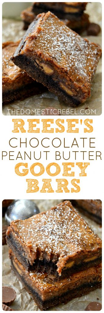 Chocolate PB Gooey Bars collage