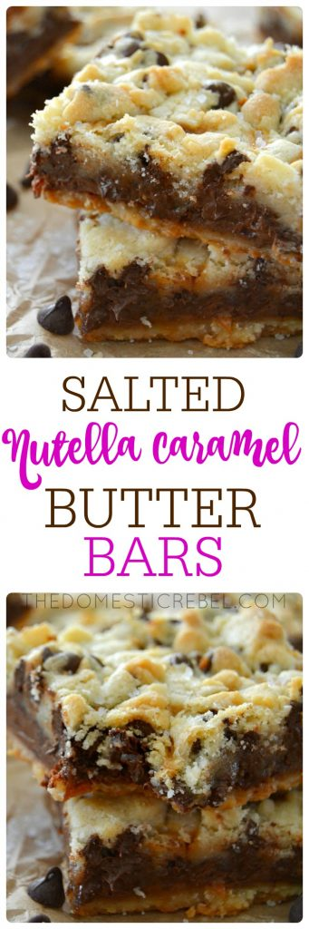 These Salted Nutella Caramel Butter Bars have a buttery shortbread crust & crumble, a thick layer of fudgy Nutella, a layer of gooey caramel, and a sprinkle of sea salt on top. Sweet, salty, buttery goodness and SO EASY!