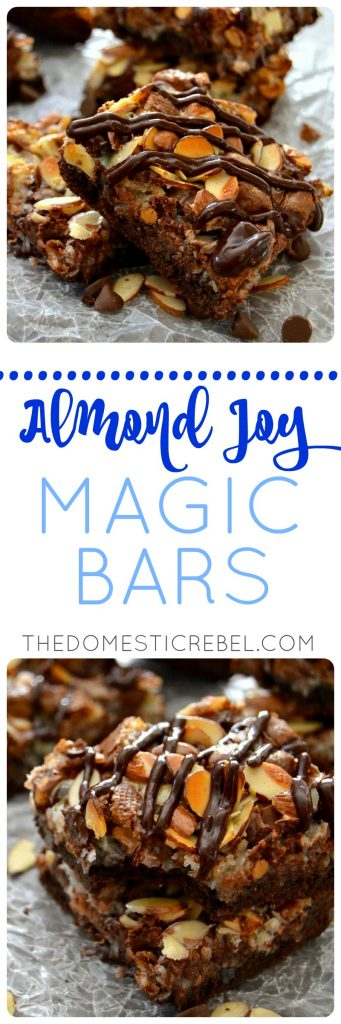 These Almond Joy Magic Bars are a delicious twist to the classic candy bar! Chocolaty, coconutty, sweet, gooey and chewy, they're so easy to make and impressive! Great for potlucks!