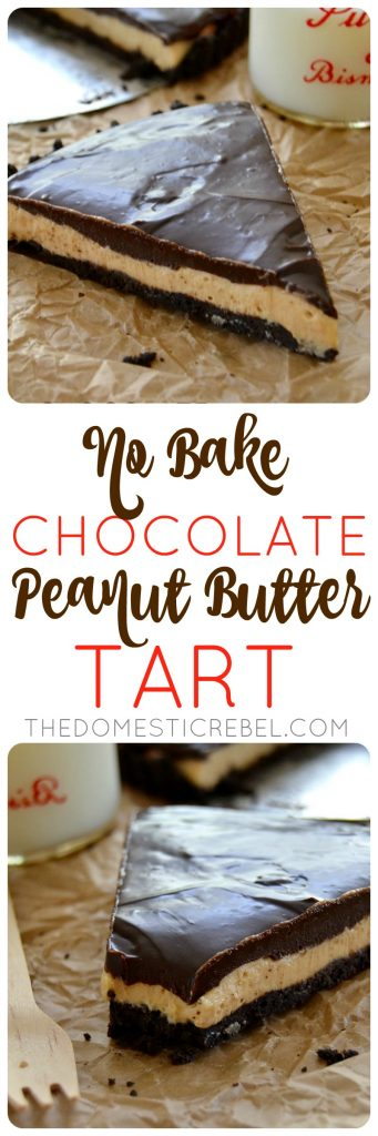 This No-Bake Chocolate Peanut Butter Tart is incredible! Smooth, creamy, chocolaty with that sweet and salty peanut butter filling. Tastes like a giant peanut butter cup and is SO easy to make!