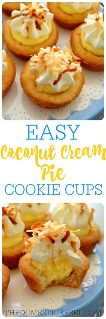 Coconut Cream Pie Cookie Cups collage