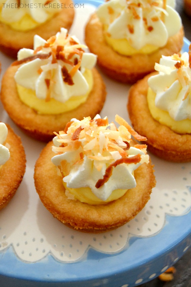 Coconut Cream Pie Cookie Cups arranged on blue and white stand