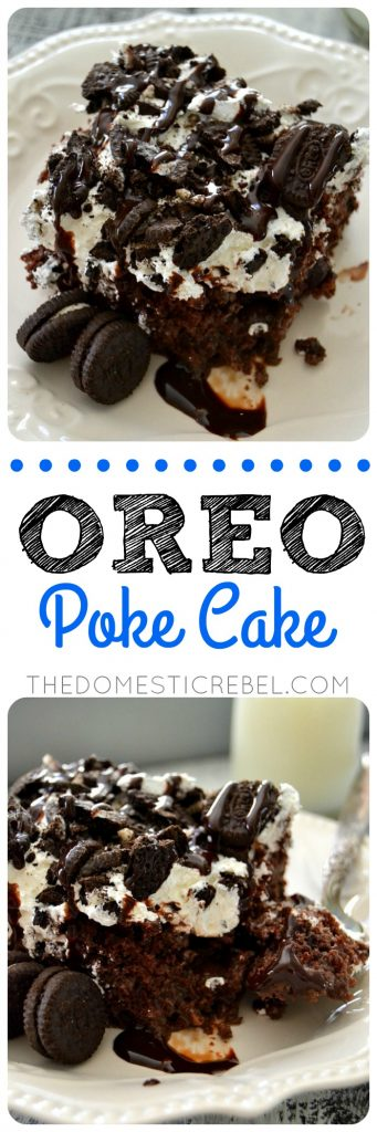 Oreo Poke Cake collage