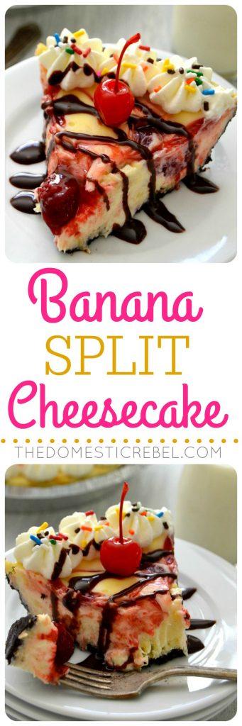 Banana Split Cheesecake collage