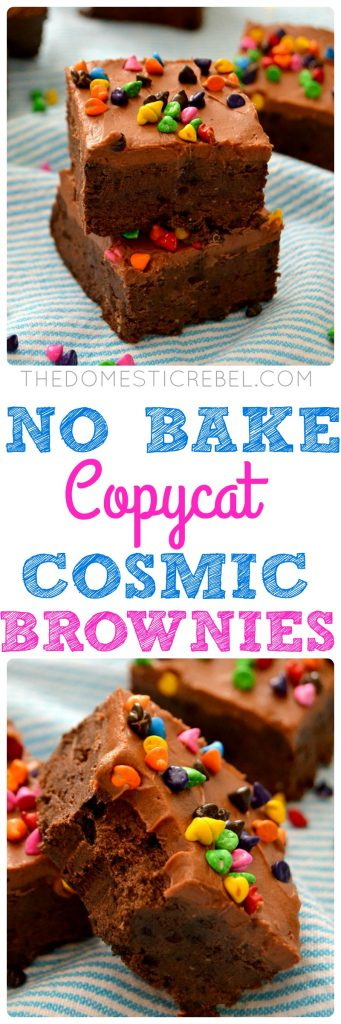These No Bake Copycat Cosmic Brownies are ultra fudgy, super chocolaty and SO EASY to make! You have to try the fudge frosting, too!