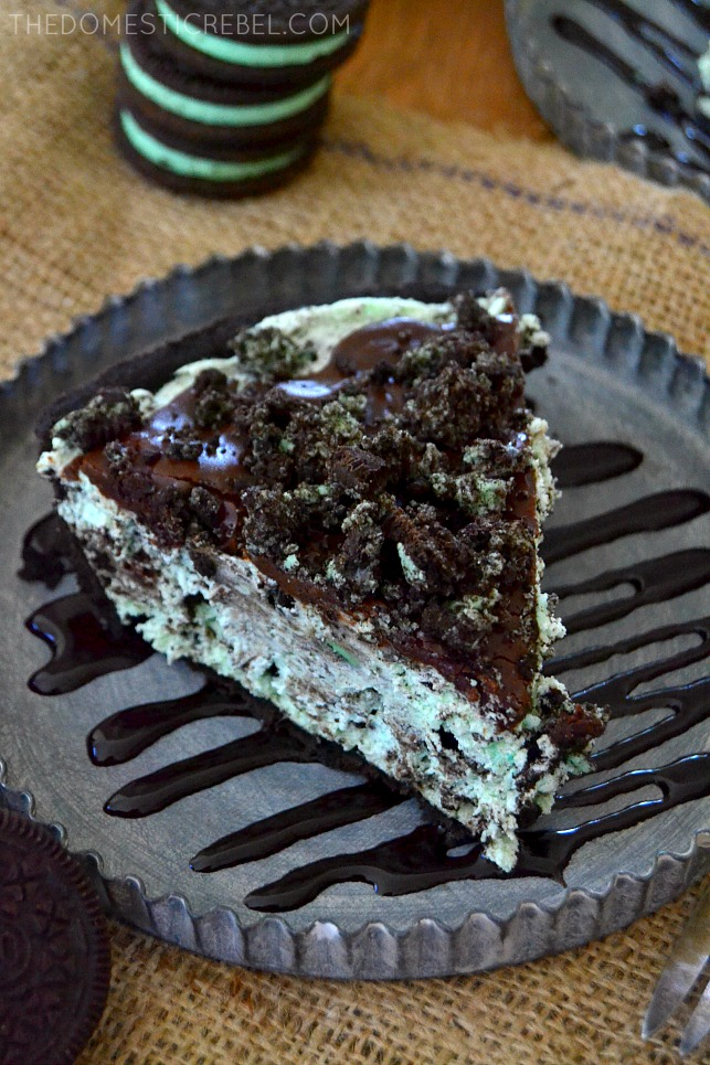 Grasshopper Pie slice on metal plate with cookies