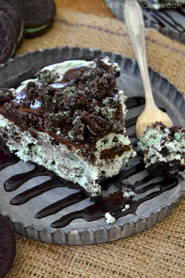Grasshopper Pie slice on metal plate with fork