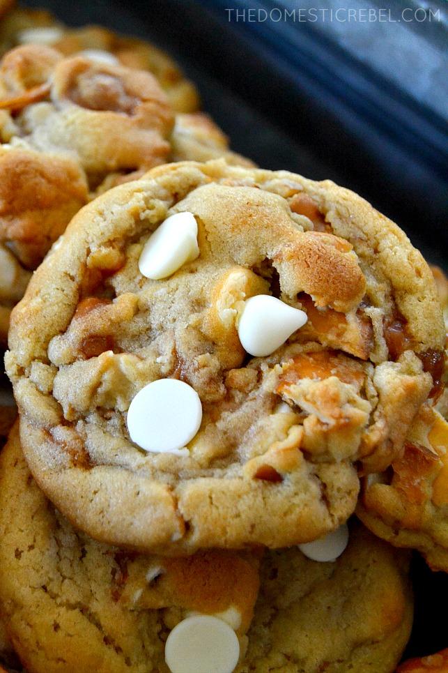 Closeup of White Chocolate Pretzel Cookies