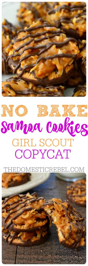 These No Bake Girl Scout Copycat Samoa Cookies are so awesome! Buttery, rich, packed with toasted coconut, caramel and chocolate and are only 5 ingredients! Easy, fast, and so satisfying!!
