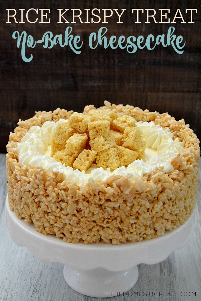 Rice Krispy Treat No Bake Cheesecake The Domestic Rebel