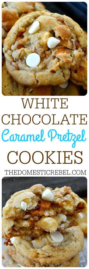 White CHocolate Pretzel Cookies collage