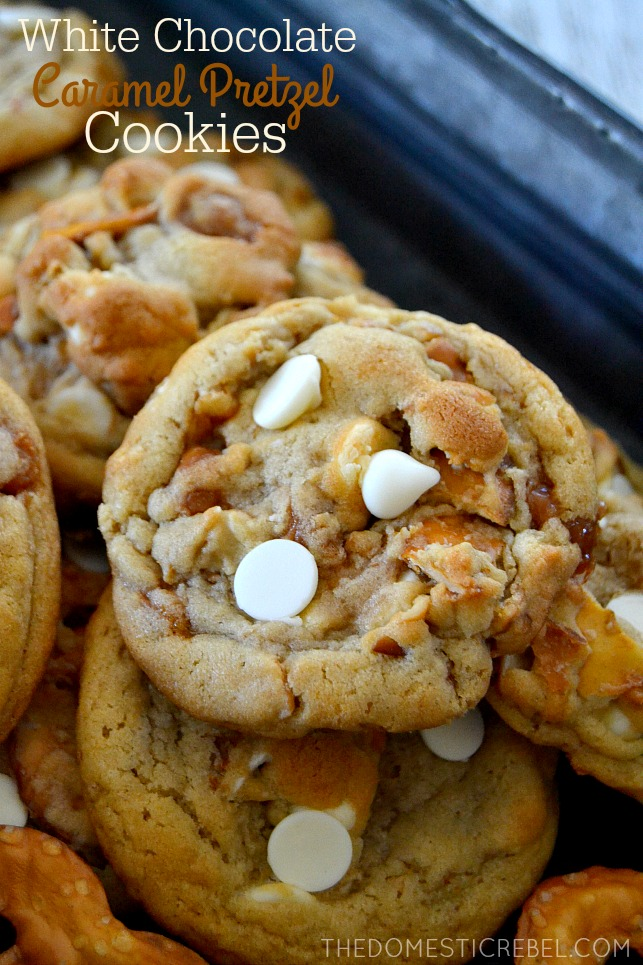 White Chocolate Pretzel Cookies arranged in pile