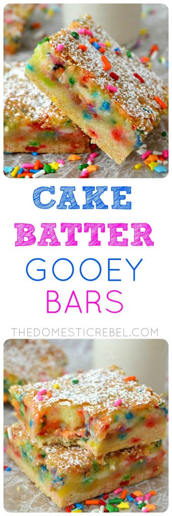 Cake Batter Gooey Bars collage