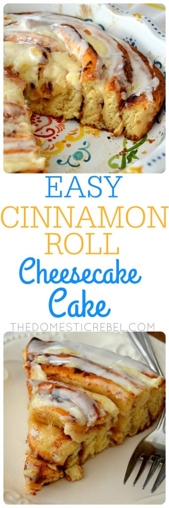 Cinnamon Roll Cheesecake Cake collage