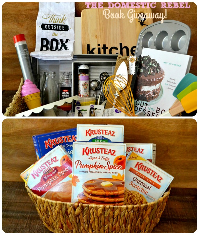 This Domestic Rebel Giveaway retails at over $250 and is filled with all of my favorite baking essentials and my new cookbook, Out of the Box Desserts!
