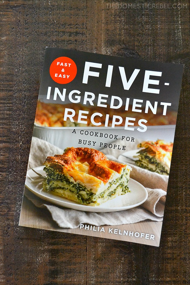 Five Ingredient Recipes cookbook on wood board