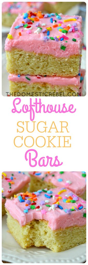 These Lofthouse Sugar Cookie Bars are the BEST ever! Soft and chewy with a fluffy interior, they have a thick vanilla buttercream and plenty of sprinkles! So easy, so fun!