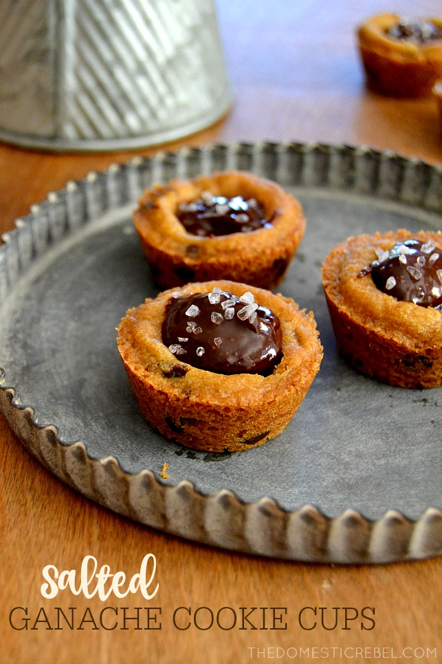 Chocolate Ganache Cookie Cups on metal tray on wood background