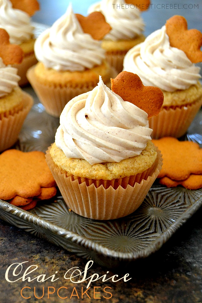 Chai Spice Cupcakes on metal tray with cookies