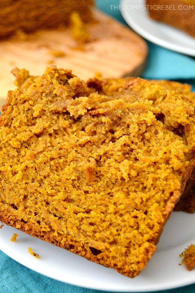 Closeup of Pumpkin Bread on white plate