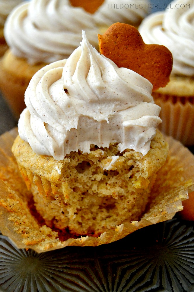 Closeup of Chai Spice Cupcake with bite missing on metal tray