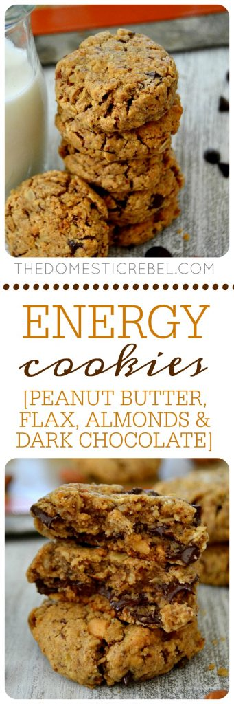 These Energy Cookies are fabulous! Chock full of peanut butter, oats, almonds, dark chocolate and flax seed, they're packed with antioxidants, protein and fiber... and they taste amazing!