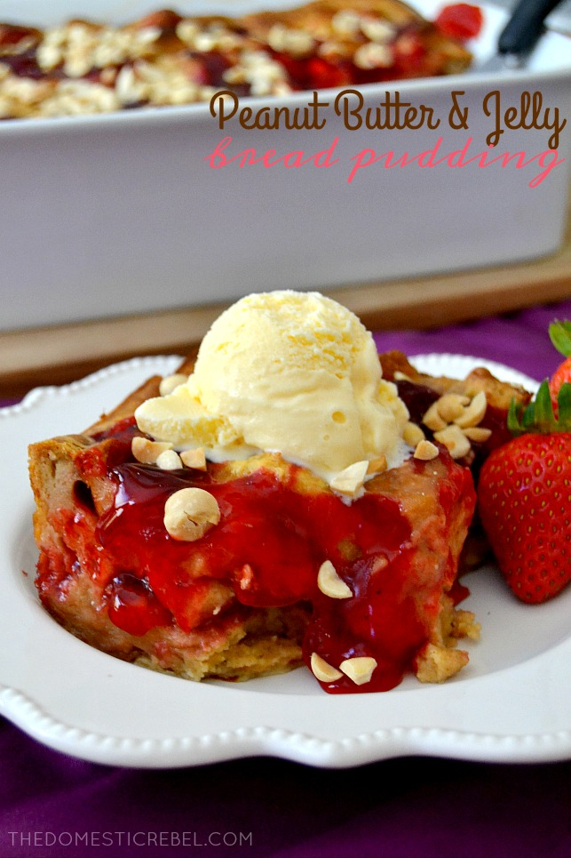 PBJ Bread Pudding on white plate with strawberry