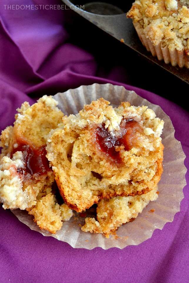 Peanut Butter & Jelly Crumb Muffins - tender, moist, fluffy peanut butter muffins filled with sweet jam and topped with a buttery crumble. So easy, fast and AWESOME!
