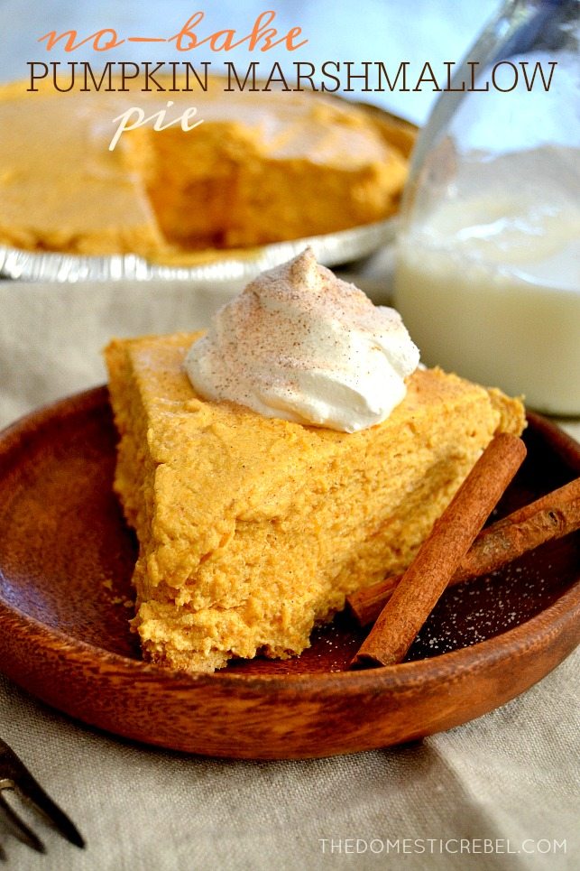 No-Bake Pumpkin Marshmallow PIe on wood plate with cinnamon sticks and milk