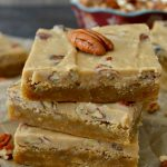 These Pecan Praline Blondies are a wonderfully EASY and DECADENT recipe! Made in ONE pot (both the frosting and the blondies), they're sweet, crunchy, gooey, chewy and utterly delicious.