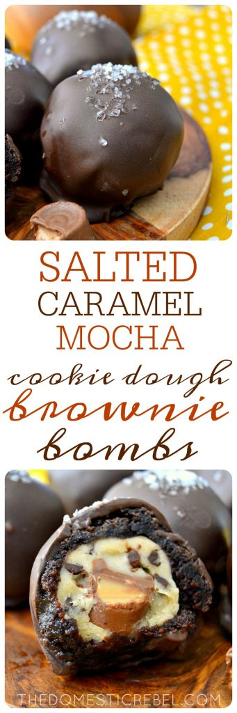 Salted Caramel Mocha Brownie Bombs collage