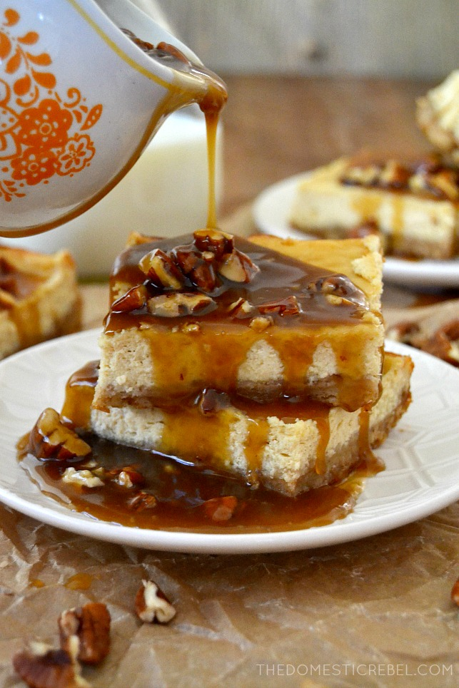 These Pecan Praline Cheesecake Bars have a pecan cookie crust, a creamy brown sugar cheesecake and a heavenly, buttery, rich and gooey praline pecan sauce on top. So easy, super impressive and utterly gorgeous and DELICIOUS!