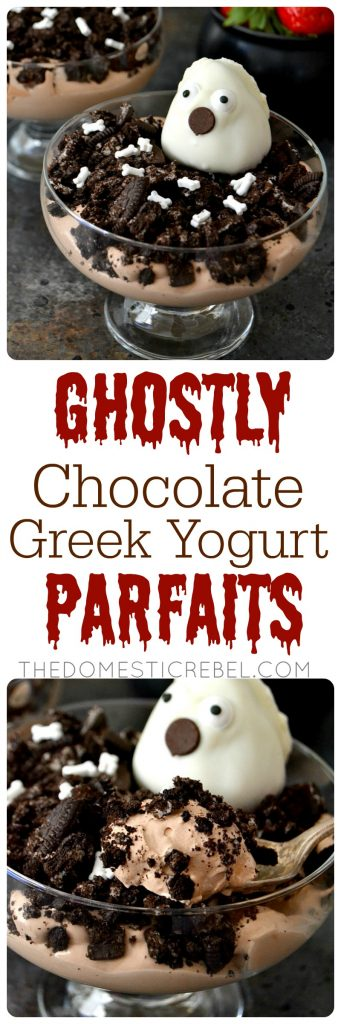Ghostly Chocolate Greek Yogurt Parfaits are creamy, smooth and bursting with chocolate & strawberry Greek-style yogurt flavors! Kids and adults alike will delight in these spooky parfaits! #ad