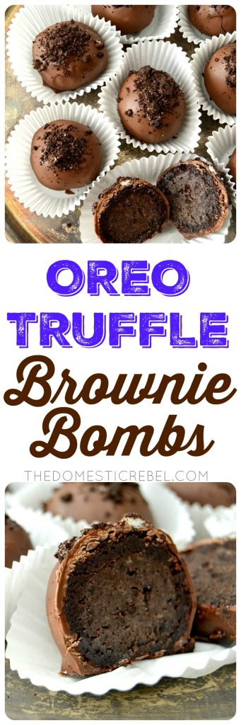 Oreo Truffle Brownie Bombs collage