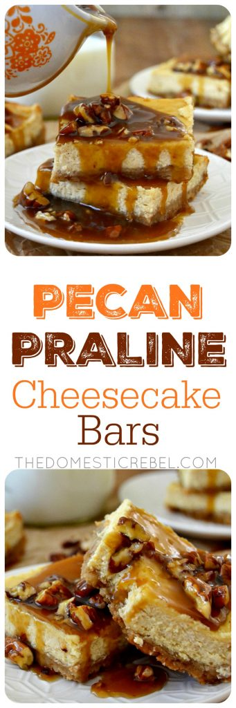 pecan praline cheesecake bars collage
