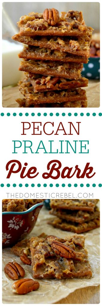 Pecan Praline Pie Bark collage