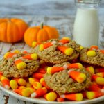 These Peanut Butter Oatmeal Scotchie Cookies are festive, fast and FUN! Chewy, buttery cookies loaded with hearty oats and creamy peanut butter, topped with festive candy corn! #ad #krusteaz