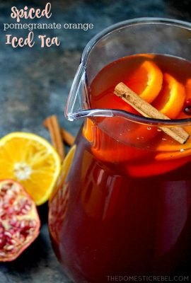 This Spiced Pomegranate Orange Iced Tea is a fantastic reimagined tea recipe! Vibrant oranges, tart pomegranate and spicy cinnamon combine to create this bright and easy iced tea recipe!