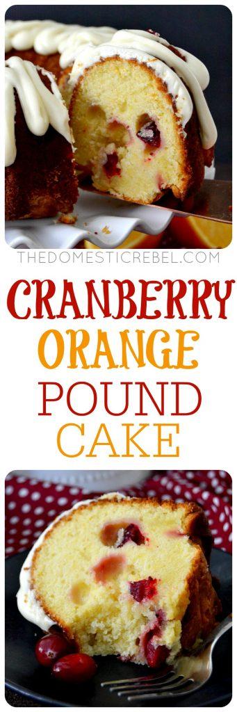 cranberry orange pound cake collage