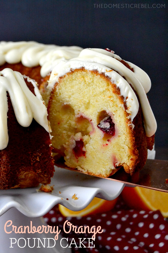 Cranberry Orange Pound Cake with Cream Cheese Glaze